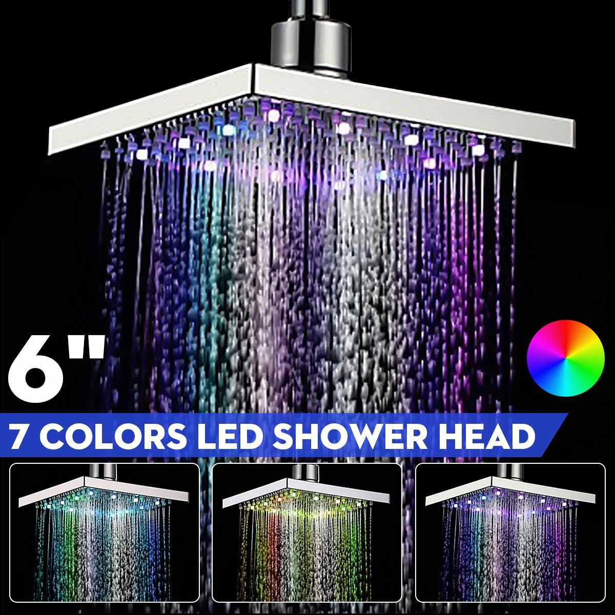 Xueqin 6 אינץ ABS כיכר גשם LED שינוי מקלחת ראש Adjudtable מים זרימת ריסוס טמפרטורת חיישן Chrome סיום