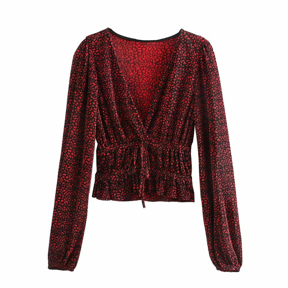 2020 Women Deep V Neck Pleated Smock Shirts Office Lady Long Sleeve Red Leopard Print Casual Roupas Femininas Blusas Tops LS6149