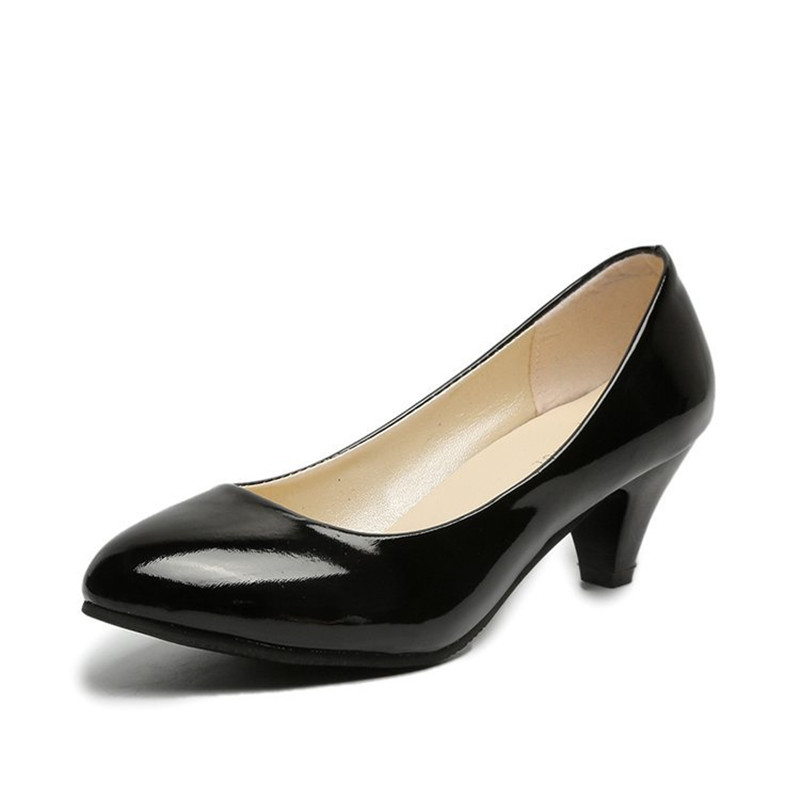 Women's Leather Med Heels New High Quality Shoes Classic Black&White Pumps For Office Ladies White High Heels Red Sexy Heels