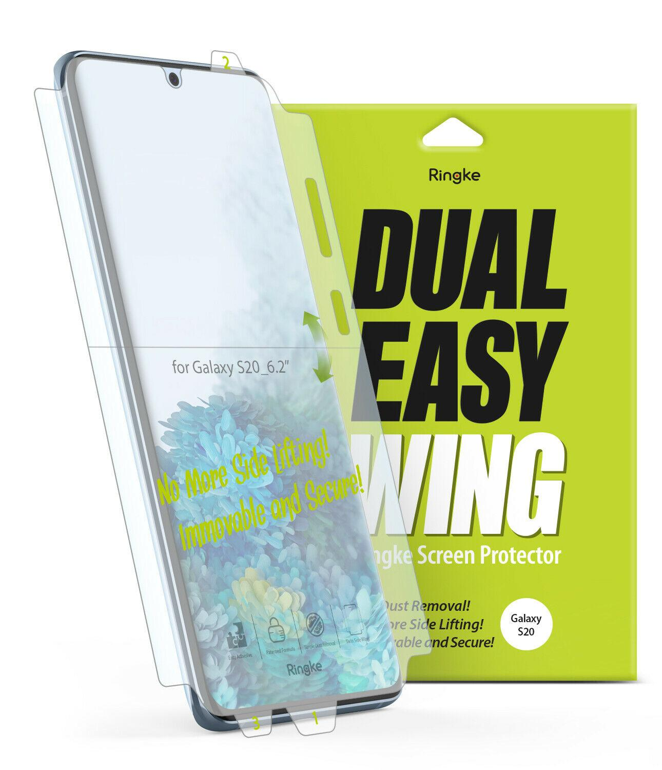 Ringke Phone Screen Protector For Galaxy S20 S20 Plus S20 Ultra Dual Easy Wing Film Screen Protector Protective 2-pack