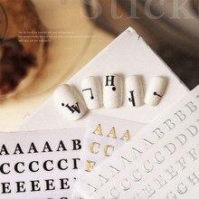 1 pçs oco inglês alfabeto letra prego adesivos 3d cola de volta unhas folhas decalques da arte do prego decorações manicure ferramentas
