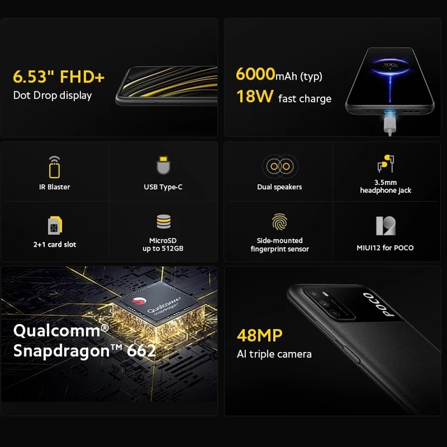 Global Version POCO M3 Smartphone Snapdragon 662 Octa Core 4GB 64GB/128GB 6.53 4