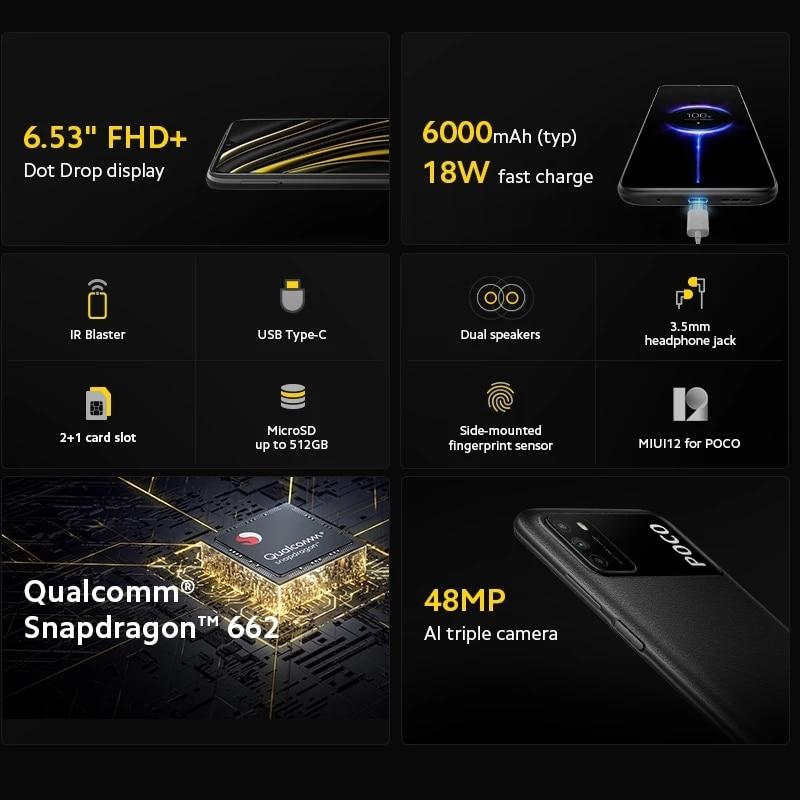 [World Premiere In Stock] Global Version POCO M3 Smartphone Snapdragon 662 Octa Core 4GB 64GB/128GB 6.53