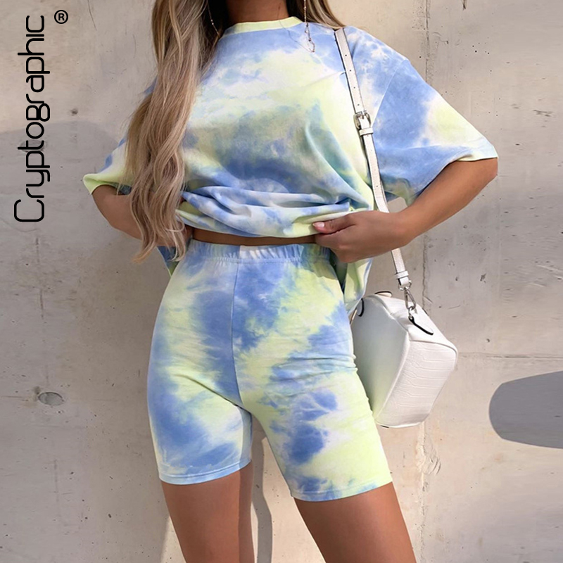 Cryptographic Tie Dye Print Sexy Top And Biker Shorts Two Piece Set Fashion Matching Sets Tops T-Shirts Loose Summer Outfits
