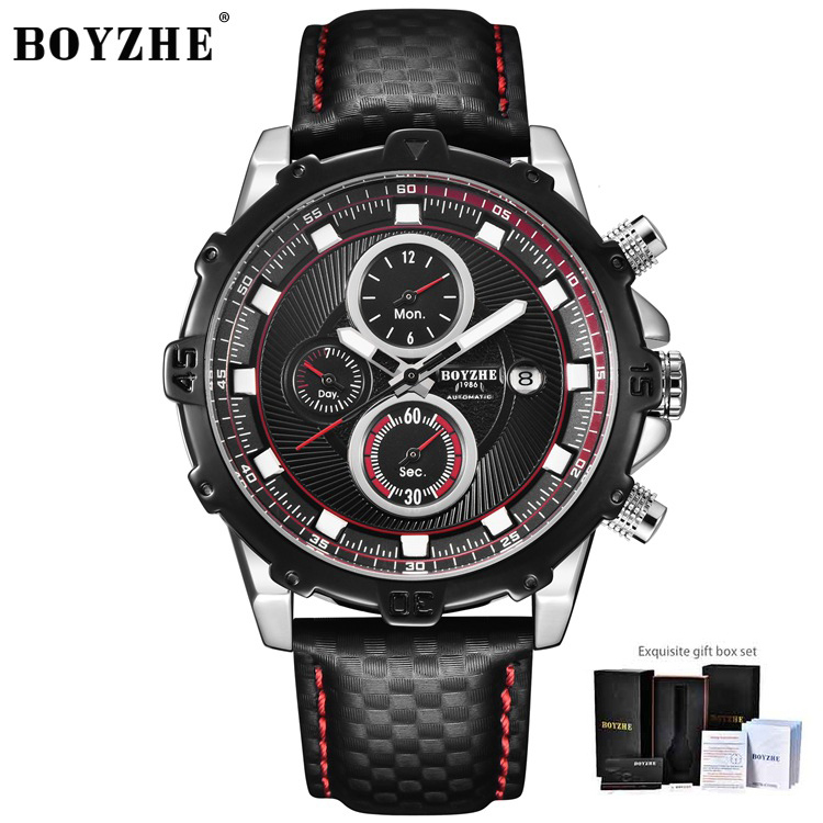 BOYZHE Men Watch Luxury Brand Automatic Mechanical Waterproof Watches Sports Watches Chronograph Watch For Men Relogio Masculino