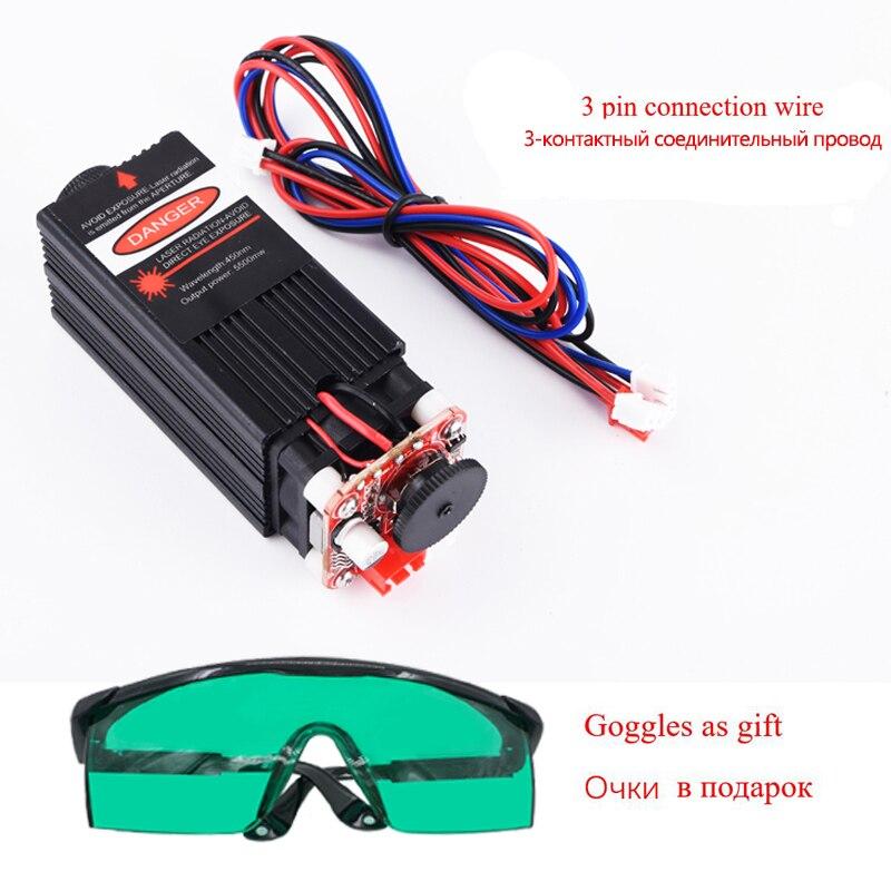 Module laser bleu 5.5w 450nm, pièces de machine de gravure laser, module de découpe laser TTL tube laser 5500mw