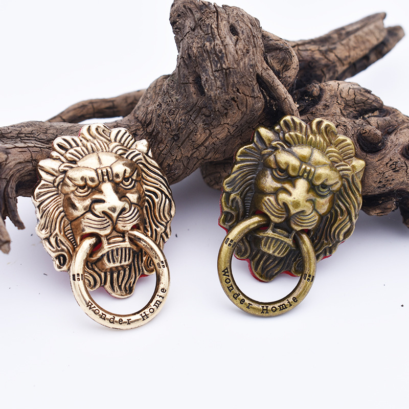 Copper Lion Head Finger Ring Stand Holder Alloy Steady Bracket Stent Mobile Phone Accessories