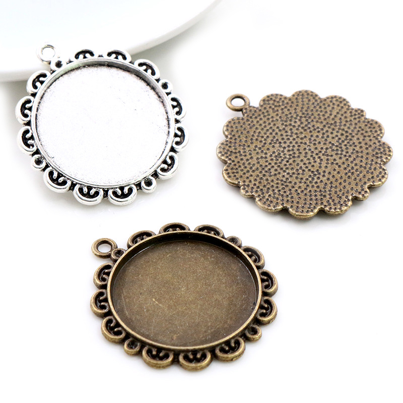 New Fashion 5pcs 25mm Inner Size Antique Silver Plated Bronze Cool Style Cabochon Base Setting Charms Pendant