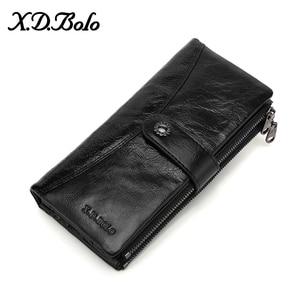 Image 5 - X.D.BOLO Fashion Wallets Women Genuine Leather Wallet High Capacity Card Holder Long Wallet Double Zipper Female Clutch Purse