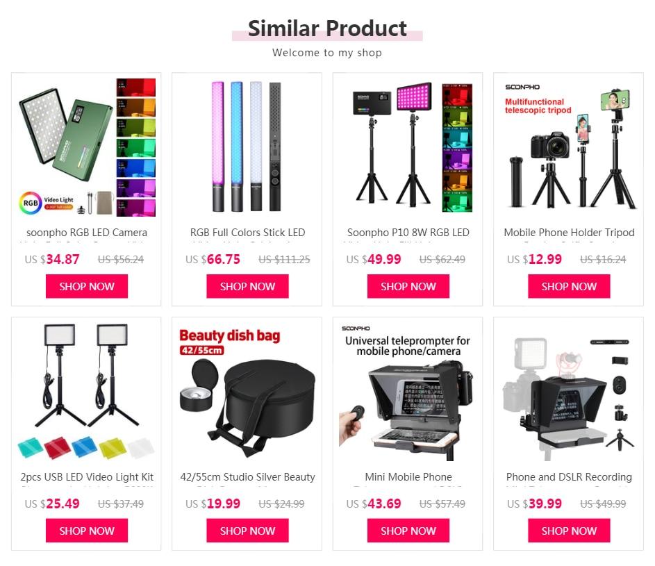 H75f0fca751dc4d738eab9549e19e48fa3 soonpho RGB LED Camera Light Full Color Output Video Light Kit Dimmable 2500K-8500K Bi-Color Panel Light CRI 95+