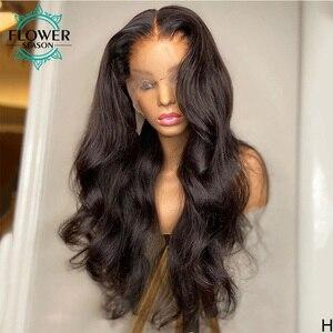 Image 2 - גלי שיער טבעי פאות ארוך הודי רמי שיער Glueless 13*6 תחרה מול פאה עבור נשים טבעי צבע 130% וflowerseason