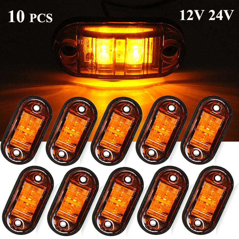 10PCS 12V / 24V LED Side Marker Lights Car External Lights Warning Tail Light Auto Trailer Truck Lorry Lamps Yellow Amber Color