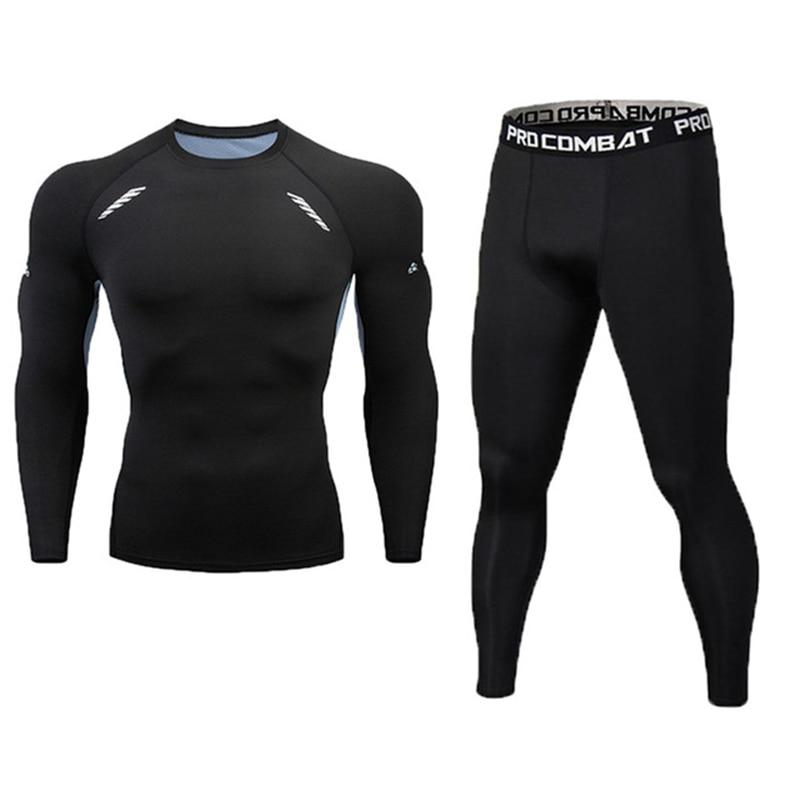 New Fitness Men's Set Pure Black Compression Top + Leggings Underwear Crossfit Long Sleeve + Short Sleeve T-Shirt Apparel Set