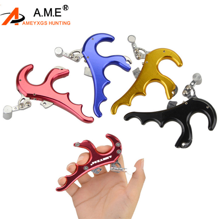 Hunting Archery Arrow Black 4 Finger Grip Caliper Release Aids 4 Compound Bow US