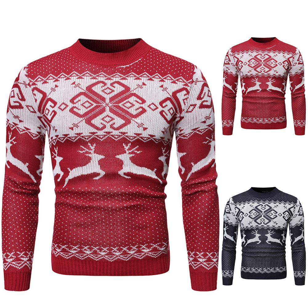 Christmas Spree Autumn Winter Xmas Chic Men Elk Print O Neck Long Sleeve Pullover Sweater Blouse Top Polyester Casual Slim Men's