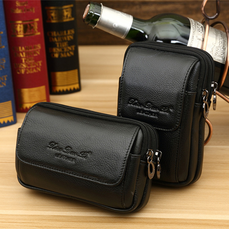 Small Dolly Genuine Leather Mobile Phone Waist Bag Wear Leather Belt Men 5/5. 5/6-Inch Mobile Phone Bag Cowhide Small Wallet Mul
