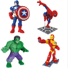 Marvel Avenger Building Spiderman Bricks Blocks Toy Super Hero Iron Man Captain America DIY Model Action Green Hulk Figures Toy sermoido sale spiderman iron man captain america superman figure motorcycle super hero model cap building blocks set model kits