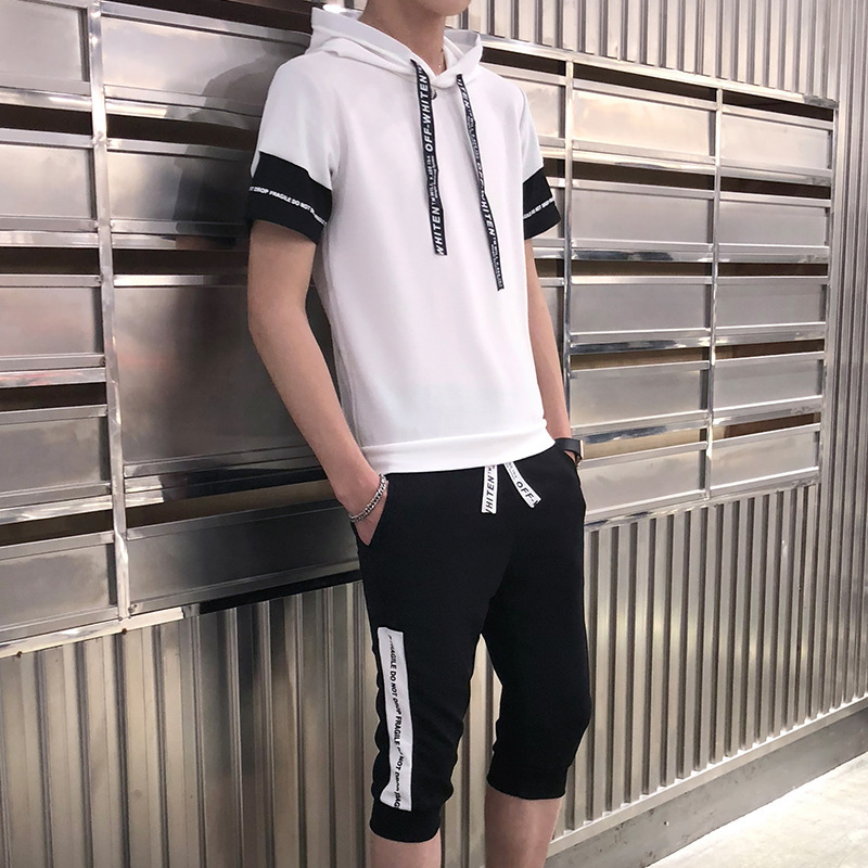 2019 Summer New Products Fashion Casual Men's Trend Hot Selling Loose-Fit Short Hooded Short Sleeve T-shirt Shorts Set
