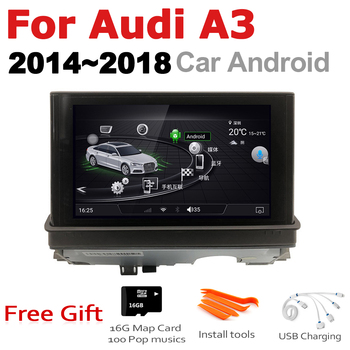 7 HD Pop up Screen Stereo Android Car GPS Navi Map For Audi A3 8V 2014~2018 MMI Original Style Multimedia Player Auto Radio image