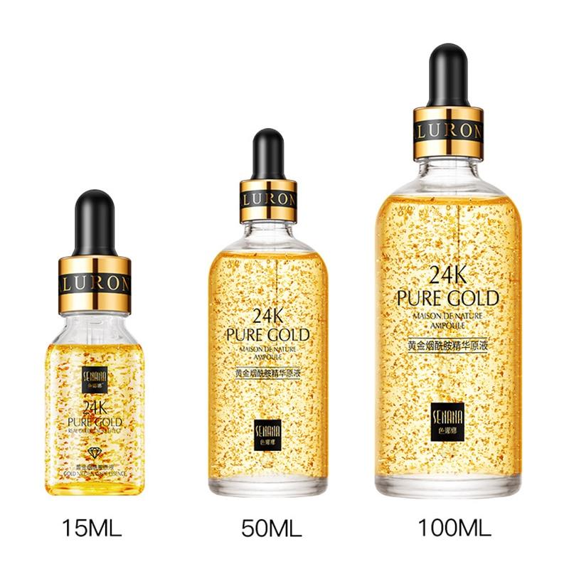 24k ouro niacinamida rosto essência hidratante anti-envelhecimento e rugas ácido hialurónico soro encolhe os poros reparos seco solto pele