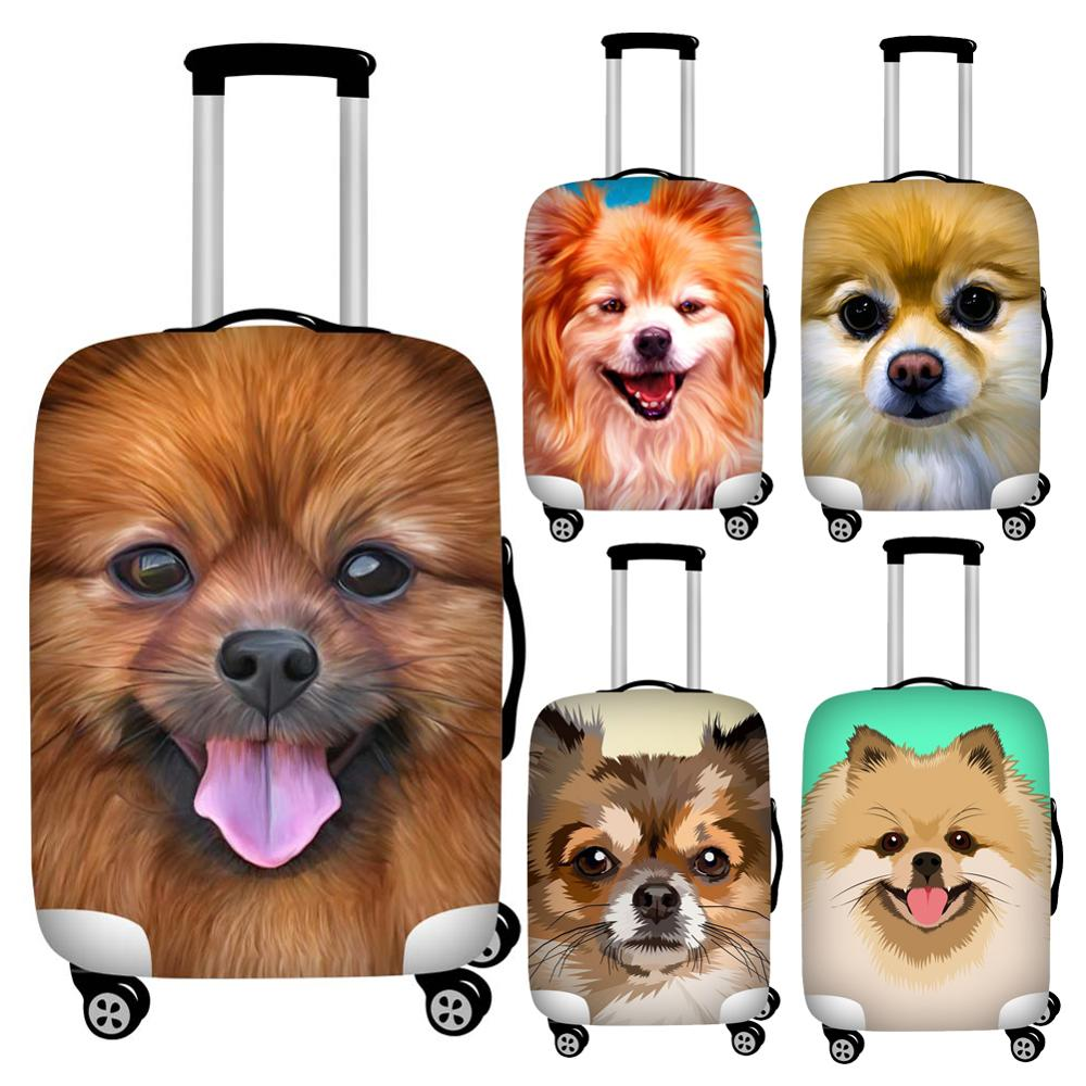 Twoheartsgirl 18-32inch Pomeranian Dog Luggage Protective Dust Cover Waterproof Travel Suitcase Covers Stretch Baggage Cover