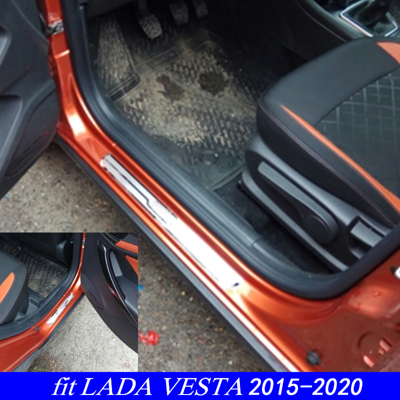 New VESTA Car Stainless Steel Door Sill Protector Scuff Plate For LADA VESTA Cross Concept 2015-2019
