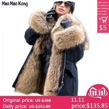 Водонепроницаемая парка, пальто из натурального меха, зимняя куртка для женщин, натуральный мех енота, меховой воротник, Лисий мех, подкладка, теплая Толстая Уличная верхняя одежда