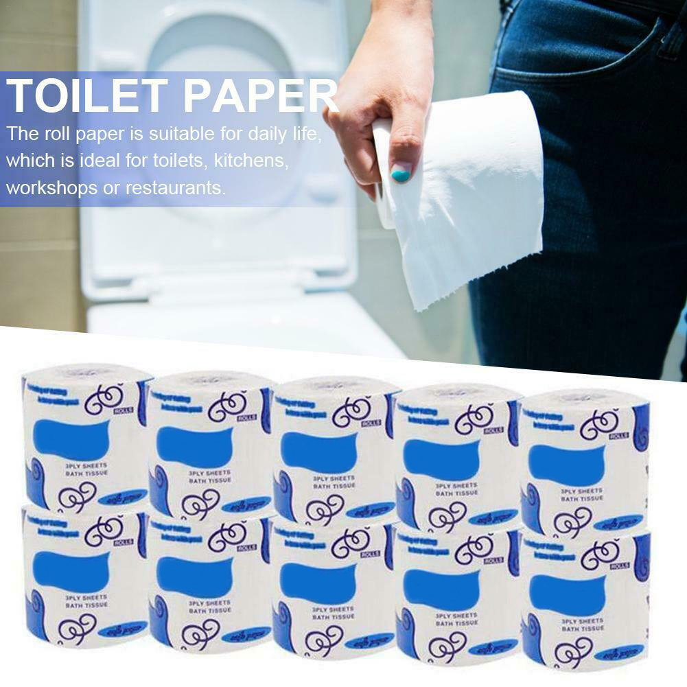 10 Rolls Toilet Paper Bulk Rolls Bath Tissue Bathroom Soft 3 Ply Skin-Friendly Household TT@88