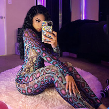 2021 New Y2K Bodycon Jumpsuit Women Snake Printed Long Sleeve Romper Sexy One Piece Outfits Skinny Sexy Club Party Jumpsuit