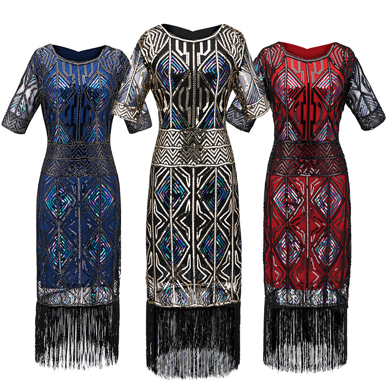 Hot Selling Europe And America Foreign Trade Top Grade Amazon Sequin Formal Dress Costume 1920 Vintage Sequins Dress