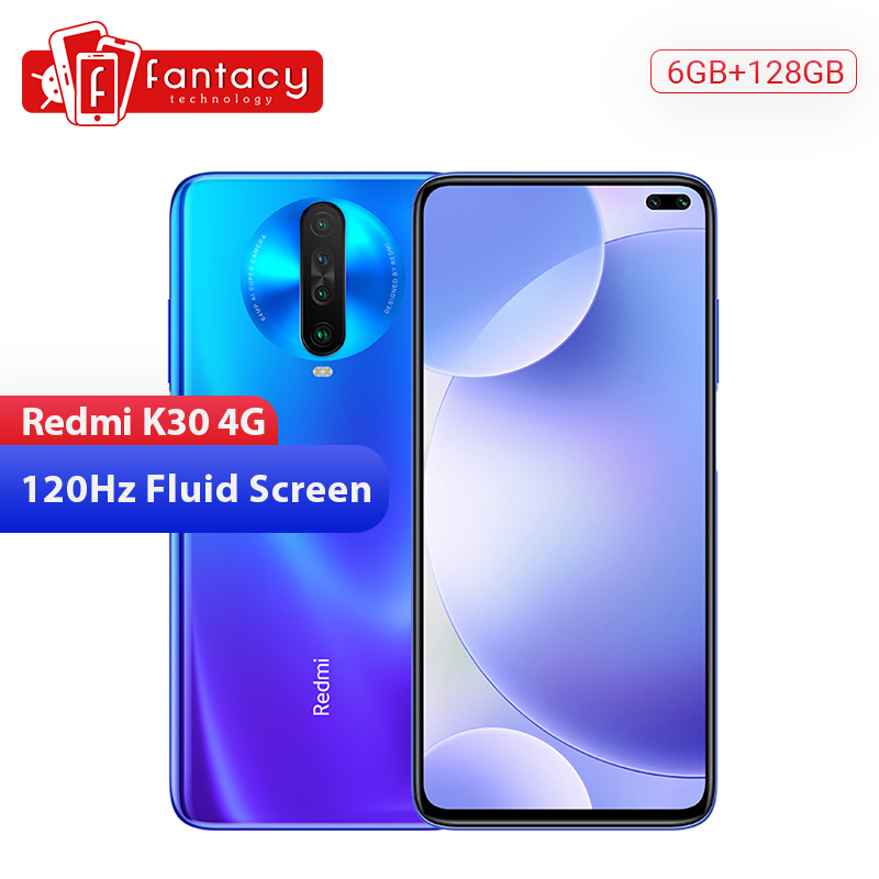 NEW Xiaomi Redmi K30 4G 6GB 128GB Mobile Phone Snapdragon 730G Octa Core 120HZ Fluid Display 6.67' Full Screen 27W Quick Charge