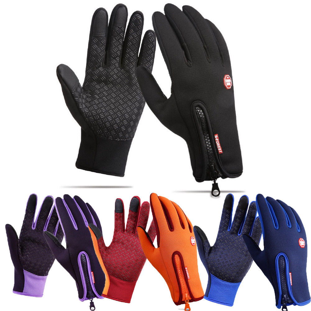 Womens Mens Unisex Leather Gloves Touch Screen Thinsulate Lined Driving Warm Gloves Windproof Waterproof Anti-slip