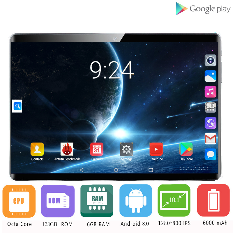 2020 Tablet Pc 128G Girl Birthday Present Android 8.0 10 Inch Tablets Octa Core 4G LTE 6GB RAM 128GB ROM 2.5D Screen Tablet Pcs