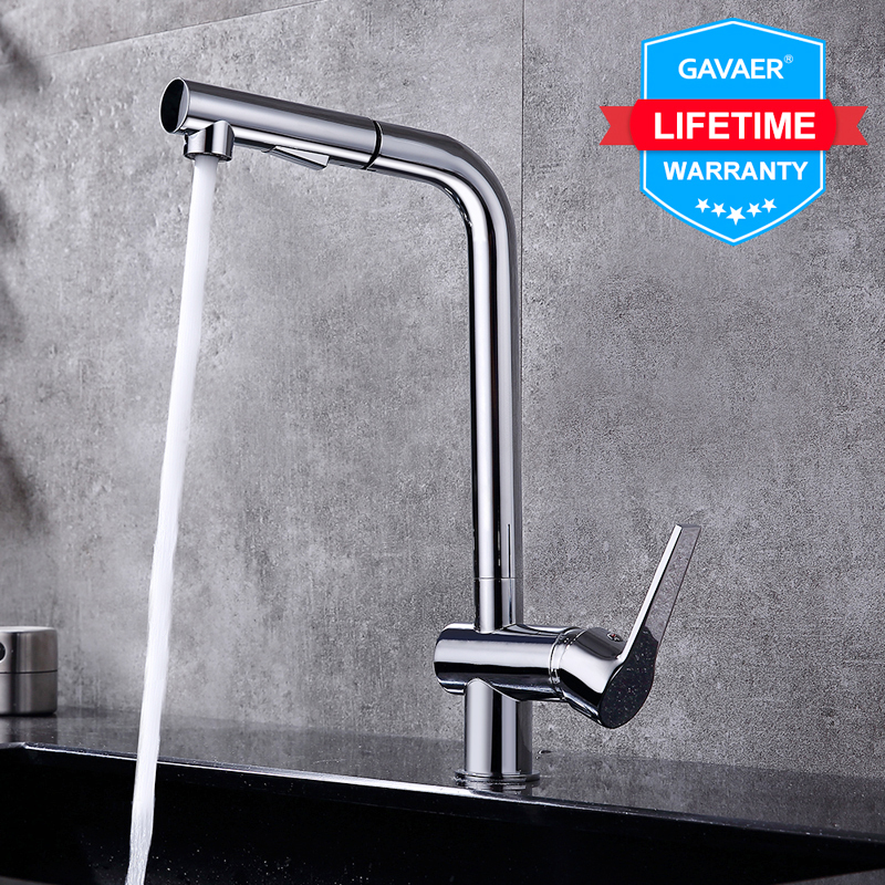 Gavaer Pull Out Kitchen Faucets Right Angle Faucet Kitchen Sink Tap  Brass Design 360 Degree Rotation Water Purification Taps