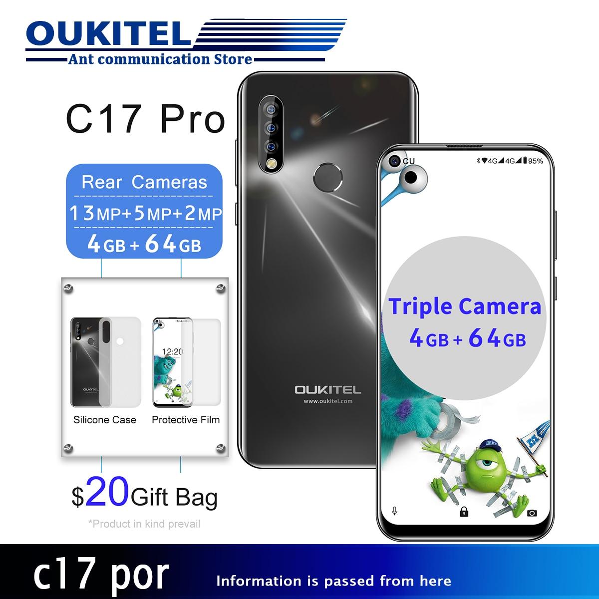"""OUKITEL C17 Pro 6,35 """"19,5: 9 Android 9,0 мобильный телефон двойной 4G LTE задние тройные камеры смартфон MTK6763 Восьмиядерный 4G ram 64G RO"""