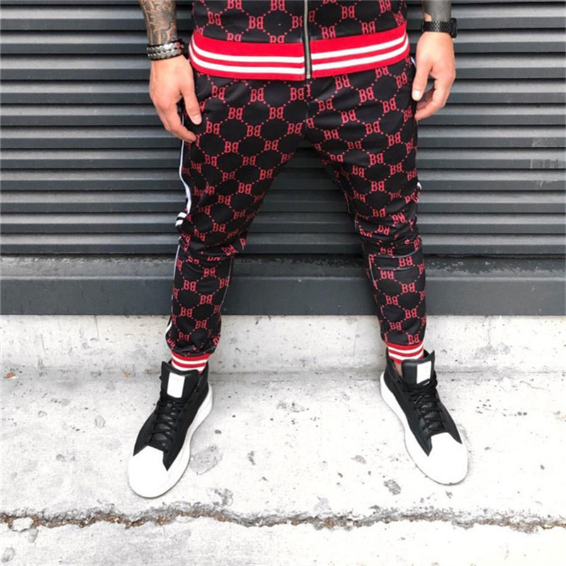 New Plaid 3d Printed BB Jogging Pants Men Fitness Joggers Men's High Street Trousers Striped Stitching Slim Training Sweatpants