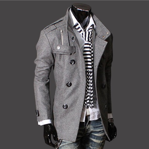 Foreign Trade Men'S Wear Cross Border Hot Selling New Style Double Breasted Stand Collar Epaulette Mid-length Woolen Coat Ultra-