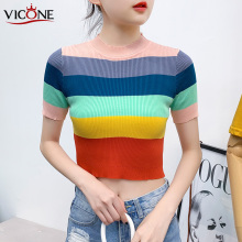 VICONE Shirt Female Rainbow Stripe Blouse Shirt Women Sweaters Fashion 2020 Women blouse 0855500 21