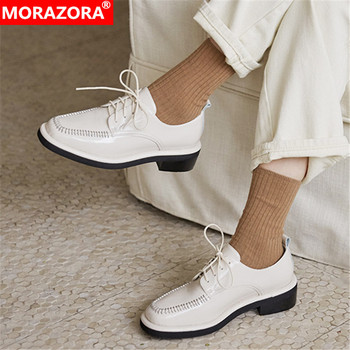 MORAZORA 2020 new arrive genuine leather women shoes med heels square toe casual shoes fashion lace up autumn shoes