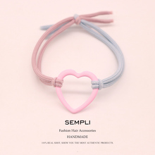 Sempli High Elasticity Two-tone Elastic Hair Bands Metal Hoop Iron Ring Women Children Fashion Heart Scrunchie Hair Accessorie two tone heart