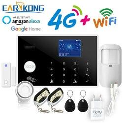 4G home alarm Tuya Wifi Alarm APP 433MHz Wireless & Verdrahtete Melder Einbrecher Alarme RFID Karte TFT LCD touch Tastatur 11 Sprachen