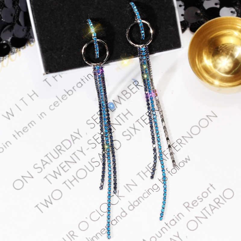 FYUAN di Moda Lungo Nappa di Strass Orecchini a pendaglio Oro Colore Blu Piccoli Cerchi Ciondola Gli Orecchini per Le Donne Monili di Cerimonia Nuziale