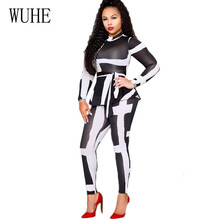 WUHE Sexy Tight Black and White Contrast Color Two Pieces Jumpsuits with Belt Women Vintage Long Sleeve Clothing Retro Playsuits