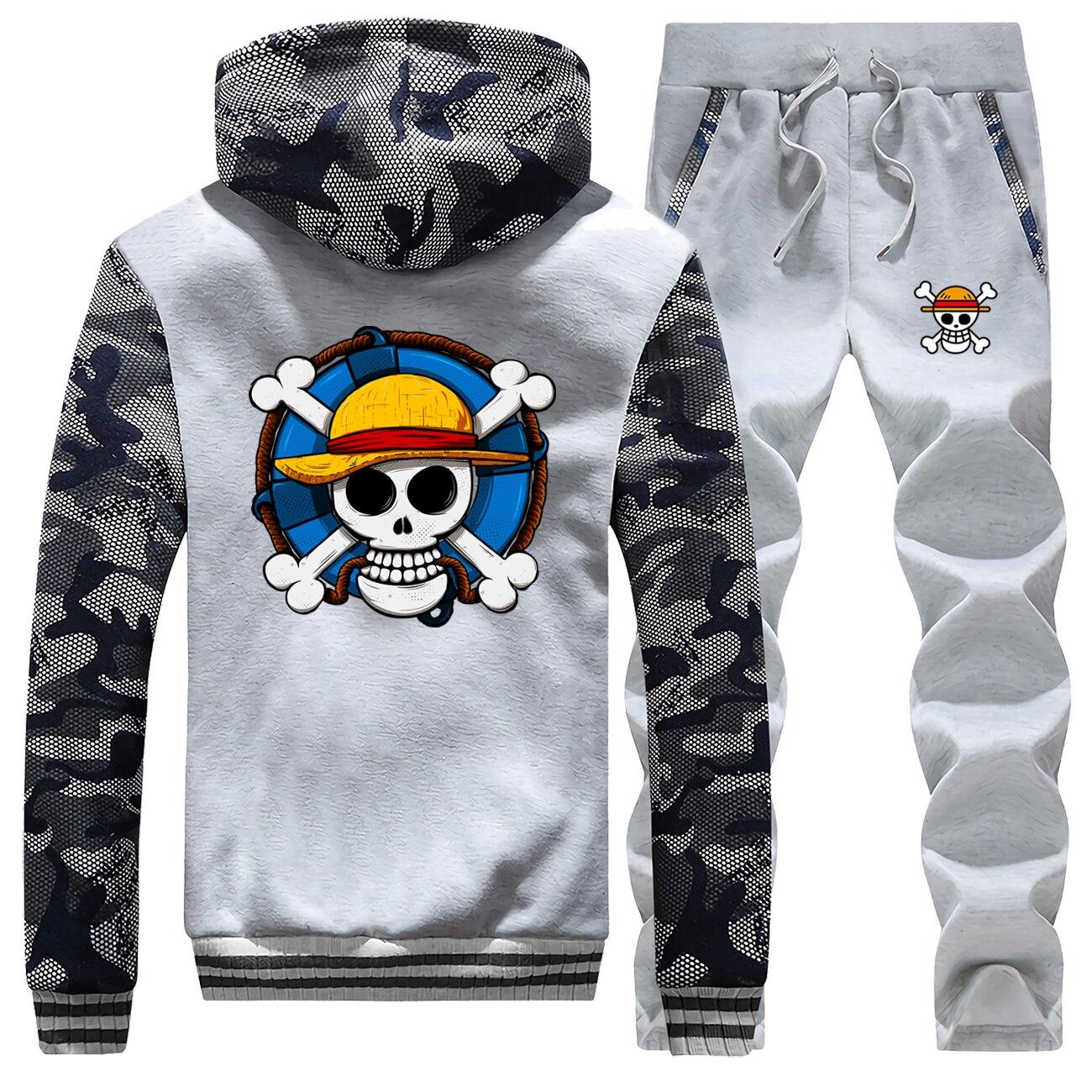 One Piece 2019 Men's Hip Hop Outerwear Thick Warm Men 2Piece Clothing Sets Casual Jacket + Pants 2Pcs Suit Track Sportswear