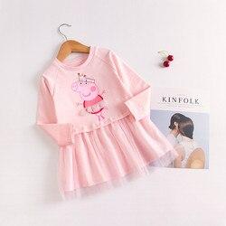2021 со Свинкой Пеппой для малышей летнее платье для девочек с изображением Свинки Пеппы; Платье принцессы на день рождения, вечерние, платья ...