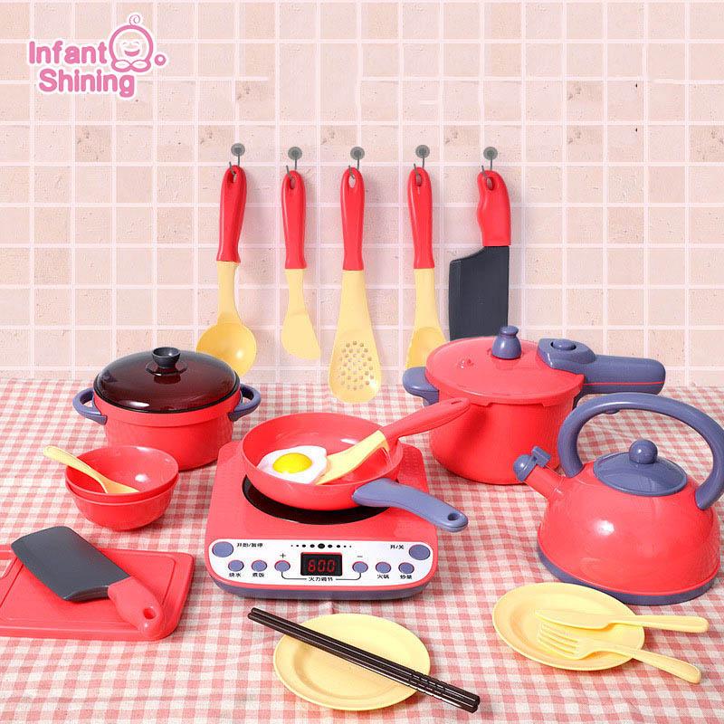 Infant Shining Kids Kitchen Toys Play Kitchen Boys&Girls Cooking Toy Kitchen For Children Toys 2-4 Years Baby Gift Kids Kitchen