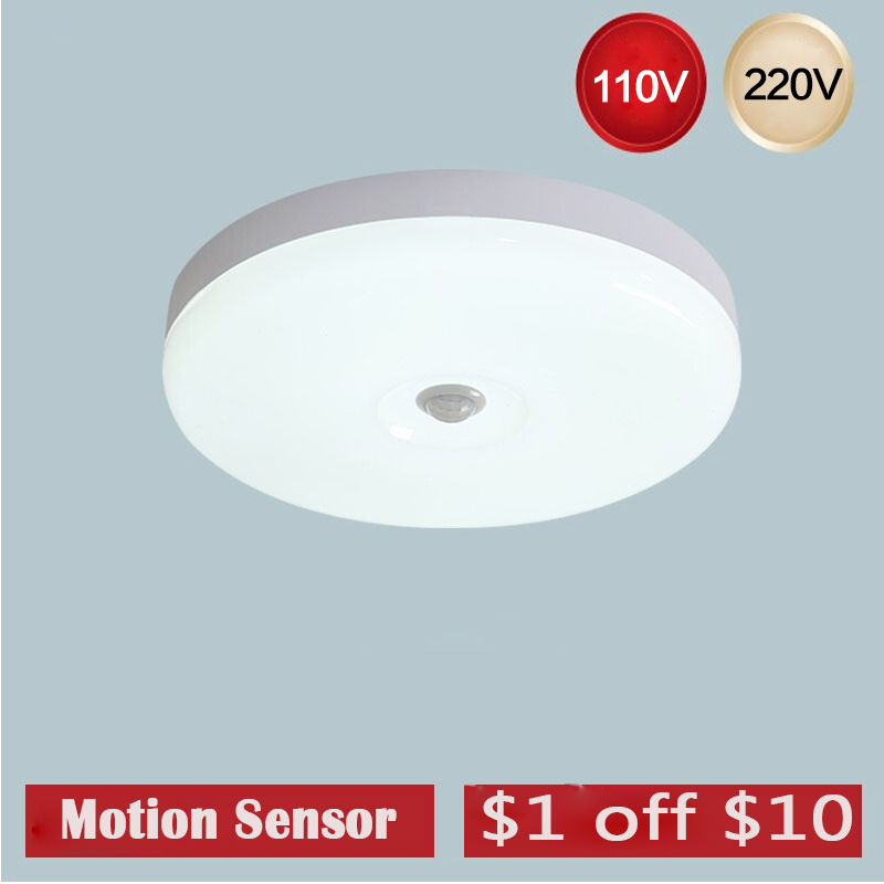 Led Night Light Lamp With Motion Sensor Bulb 12W 18W Lamp Ceiling Light For Stair Hallway LED Sensor Night Lamp Auto On/Off 220V