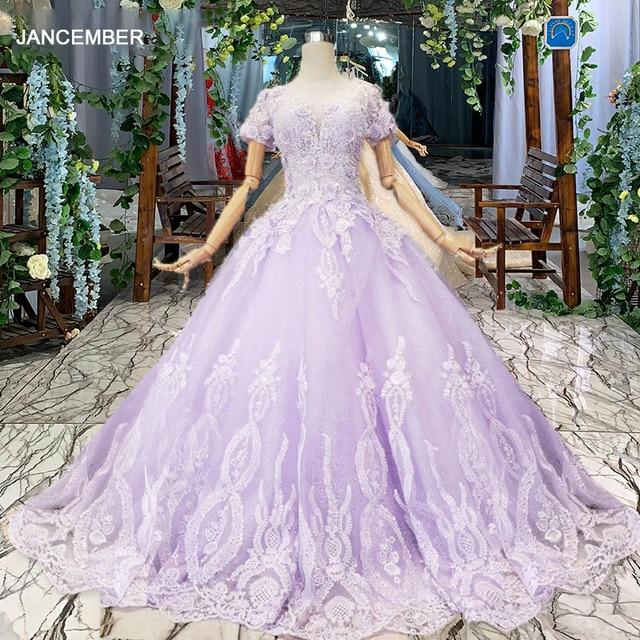 LS00017G 紫色のイブニングドレス半袖 o ネックビーズアップリケレースのロングイブニングドレス 2019 vestido デ 15 各公報デデビュタント