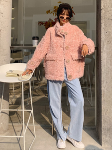 Image 3 - AYUNSUE Real Fur Coat Female Sheep Shearling Autumn Winter Jacket Women 100% Wool Coat Korean Pink Jackets Manteau Femme SGT 007