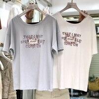 Women summer 2019 fashion show thin T shirt all match Korean loose o neck flash gold powder printed for woman